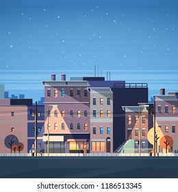 city building houses night view skyline background real estate cute town concept flat vector illustration
