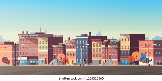 city building houses view skyline background real estate cute town concept horizontal banner flat vector illustration