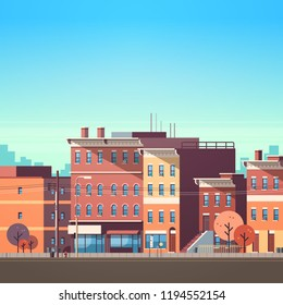 city building houses view skyline background real estate cute town concept flat vector illustration