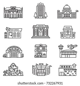 City building icons.  Line Style stock vector.