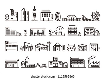 City and building icons set