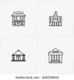 City Building line icon set with theatre, bank and municipality house