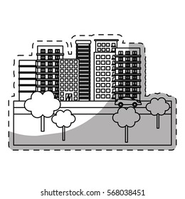 city building on street with trees  icon image line sticker vector illustration design