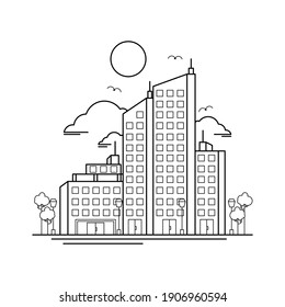 City Building Outline Design for Drawing Book Style two