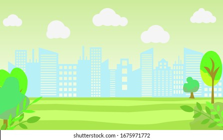 City Building Panorama Vector Illustration with place for text