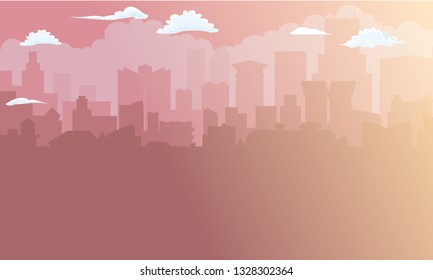 City building silhouette in morning sunlight. Cityscape background. Vector illustration.