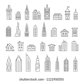 City building vector icon set. Building linear icons. Collection of home and house icons.