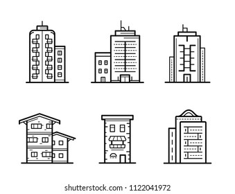 City building vector icon set. Building icons. Collection of home and house icons.
