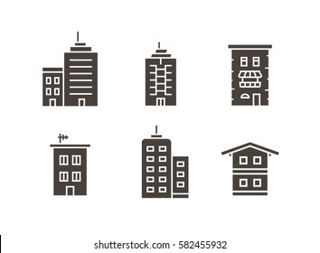 City building vector icon set. Icons. Collection of home and house