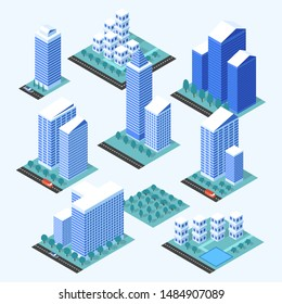 City buildings 3d isometric projection for map. 3d city map elements. Vector illustration.