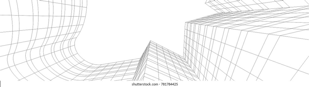 city buildings, architectural vector illustration