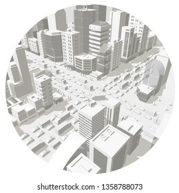 City buildings in the circle. Background street In light gray tones. 3d road Intersection. City projection view. Vector horizontal rectangular banner format. Cars end buildings top view.