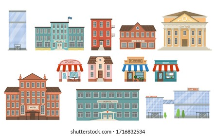 City buildings flat icon collection. School, bank, shop, apartments, office center, hospital, hotel, library, mall and city hall front view vector illustration set. Exterior and facade concept