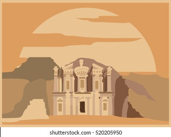 City buildings graphic template. Jordan. Petra. Vector illustration
