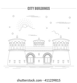 City buildings graphic template. Luxembourg. Vector illustration