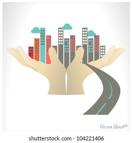 City buildings human hand. Vector illustration.