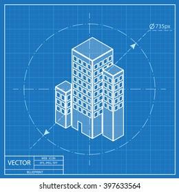 city buildings isometric 3d blueprint icon