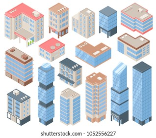 City buildings isometric set with urban life and architecture symbols isolated vector illustration