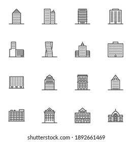 City buildings line icons set, outline vector symbol collection, linear style pictogram pack. Signs, logo illustration. Set includes icons as real estate, residential building, skyscraper office, home