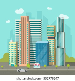 City buildings near road vector illustration, cityscape flat style, modern big hight skyscrapers town, urban street landscape