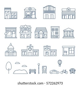City and buildings set of vector icons, outline styl