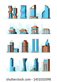 City buildings. Skyscraper street houses groceries village constructions vector 2d low poly game buildings. Illustration of building construction, modern office architectural