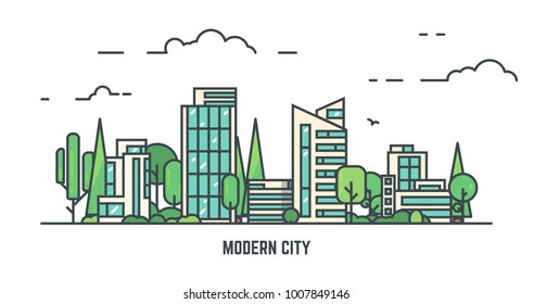City with buildings and skyscrapers and trees. Flat style line vector illustration. Business city center with modern houses. Green park in center of town. Clouds and sky. Park and smart concept.