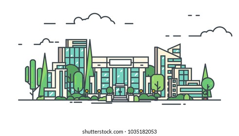 City with buildings, skyscrapers and trees from park. Bank or big building in city center. Flat style line vector illustration. Business city center with modern houses. Green park in center of town.