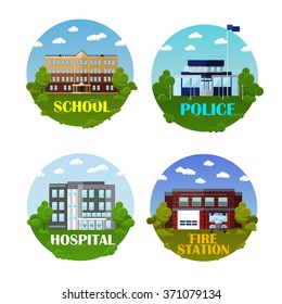 City buildings vector icon set in flat style. Design elements and emblems. School, police department, hospital and fire station. Urban landscape.