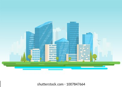 City buildings vector illustration. Small building, big skyscrapers and large city tall skyscrapers on background. Urban street with park and trees near cityscape. Metropolis background.