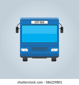 City bus blue front isolated vector illustration in flat style design