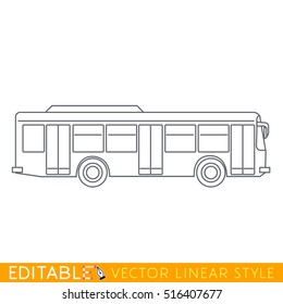 City bus. Editable outline sketch icon.
