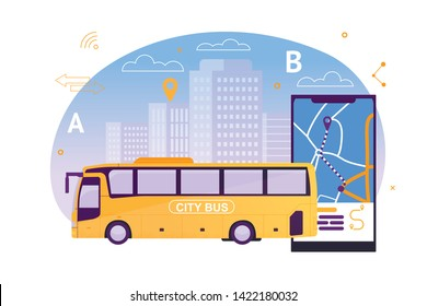 City Bus with Map Application on Mobile Phone Flat Cartoon Vector Illustration. Puplic Transport Route around Town. Urban and Countryside Traffic Concept. Comfortable Moving. Cityscape on Background.