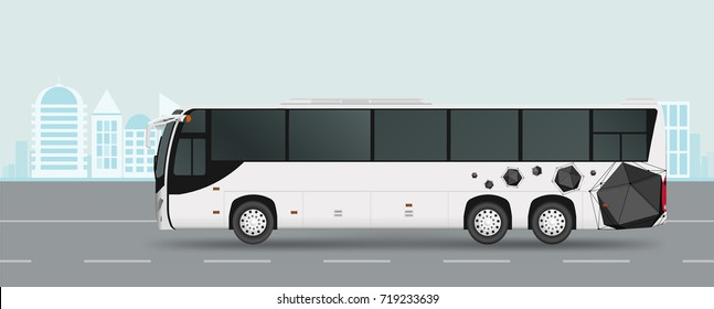 City bus on road. Passenger transport. Vector illustration eps 10 isolated on white background