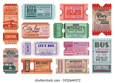 City bus ride retro tickets vector templates set. Passenger transportation department, intercity transport trip admission single ticket with bus, vintage typography and controller tear off perforation