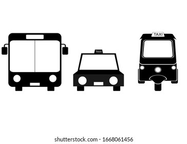 city bus, taxi, and tuk tuk transportation icon vector