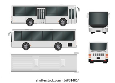 City bus template. Passenger transport all sides view from top, side, back and front. Vector illustration eps 10 isolated on white background