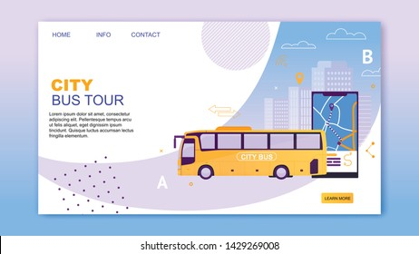 City Bus Tour Flat Cartoon Banner Vector Illustration. Bus Vehicle with Map Application on Mobile Phone. Puplic Transport Route. Urban and Countryside Traffic. Comfortable Moving Website Design.