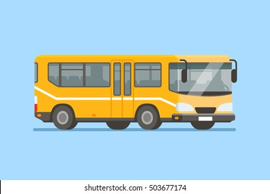 City bus vector illustration in modern flat style.