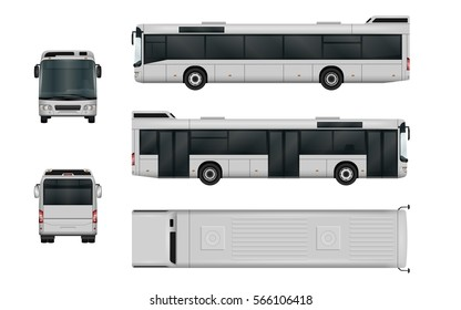 City bus vector template. Isolated passenger transport mock-up on white background. The ability to easily change the color. All sides in groups on separate layers. View from side, back, front, top.