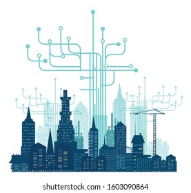 City, business and  modern internet environment. Hightech electronic, microchips, icons and communication symbols at the background. Business concept illustration.
