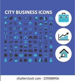 city business, work, finance icons, signs, illustrations concept design set, vector
