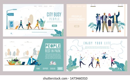 City Busy People, Rest in Park, Business Communication, Successful Lifestyle Flat Vector Web Banners, Landing Pages Set. Business Team, Man and Woman Using Laptop in Park, Happy People Illustration