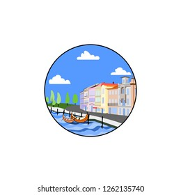City by the sea illustration. Buildings with two boats on dockyard vector color illustration. Town with sea clouds and trees in a round circle isolated graphic. Cartoon style modern design sea city.