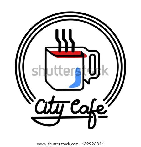 city cafe logo template design vector stock vector royalty free Ay Logo city cafe logo template design vector