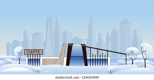 City caffe in winter park with modern town on background. Winter clear day. Modern architecture caffe, restaurant, shop in winter park. Cute vector illustration