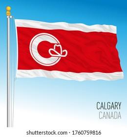City of Calgary official flag, Alberta, canada, vector illustration