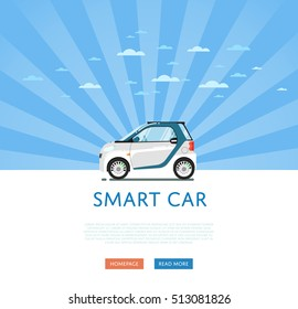 City car isolated on rays background. Vector compact smart car. Vehicles cartoon car isolated. Smart car side view isolated.