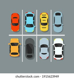 City car park with a set of different cars. Lack of parking spaces. Urban transport. Vector illustration.