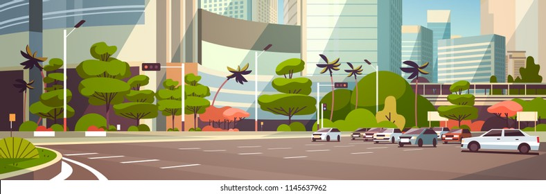 City car parking over skyscraper buildings modern cityscape background horizontal banner flat vector illustration